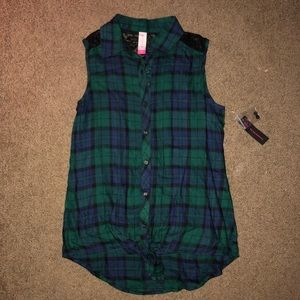Black & Green Plaid Blouse with Lace detail